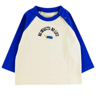 NO INSECT NO LIFE かぶとむしくん刺繍ラグラン長袖Tシャツ