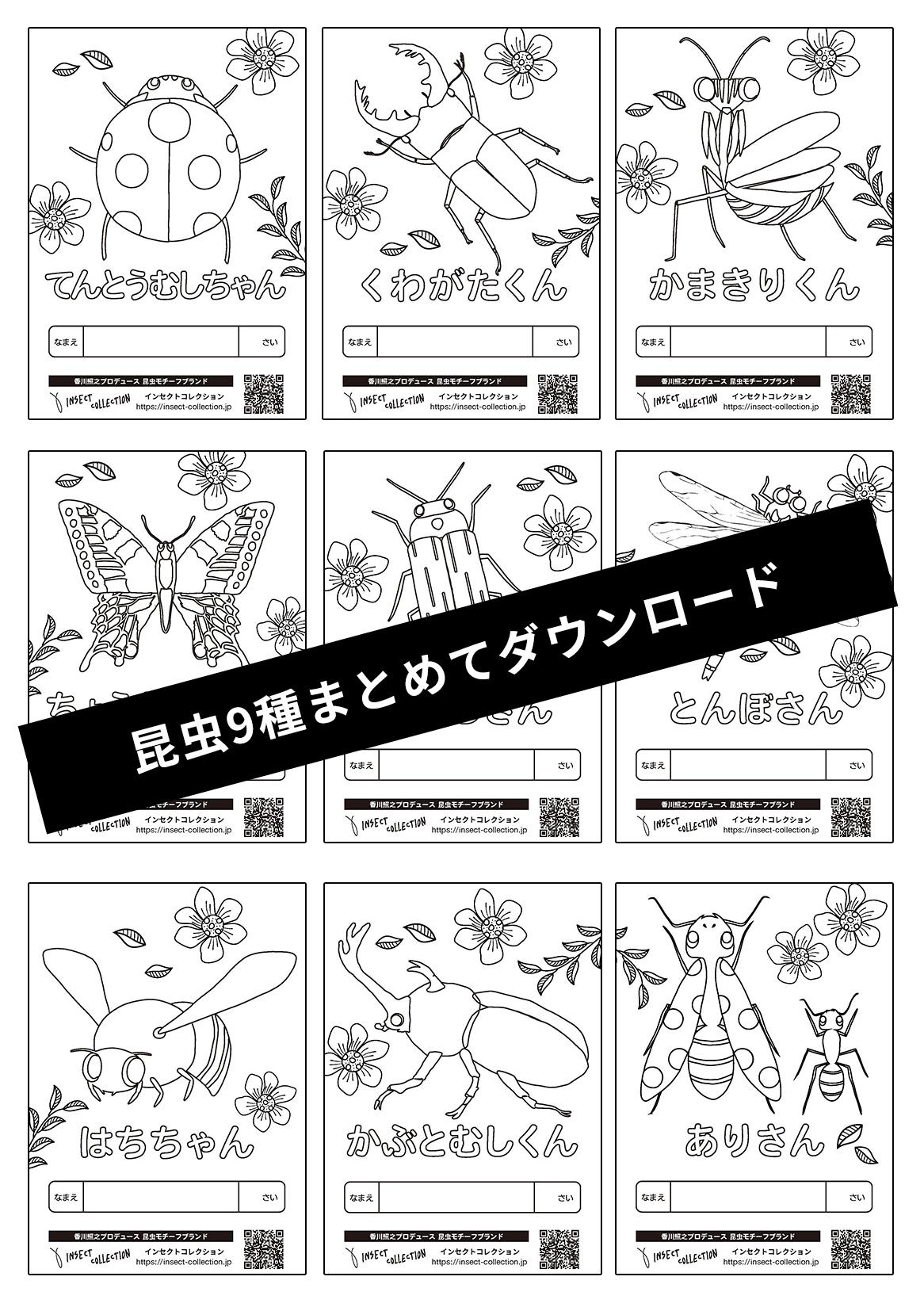 インセクトコレクション 昆虫9種類無料ぬりえ
