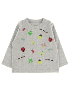 Insect Collection 昆虫大集合長袖Tシャツ グレー キッズ