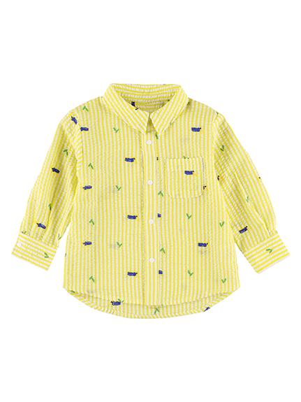 【かぶとむしくんリラックスシャツ】速乾・アイロン要らずな総刺繍ストライプ
